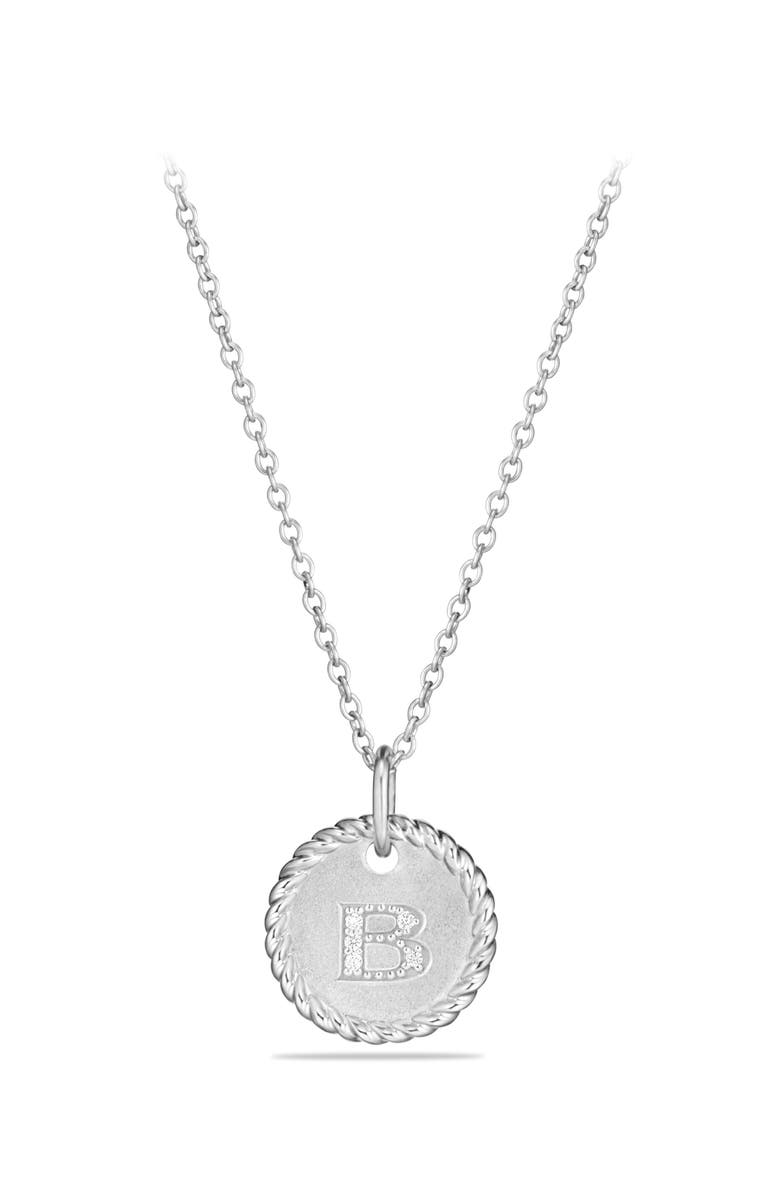 DAVID YURMAN Initial Charm Necklace with Diamonds in 18K White Gold, Main, color, B