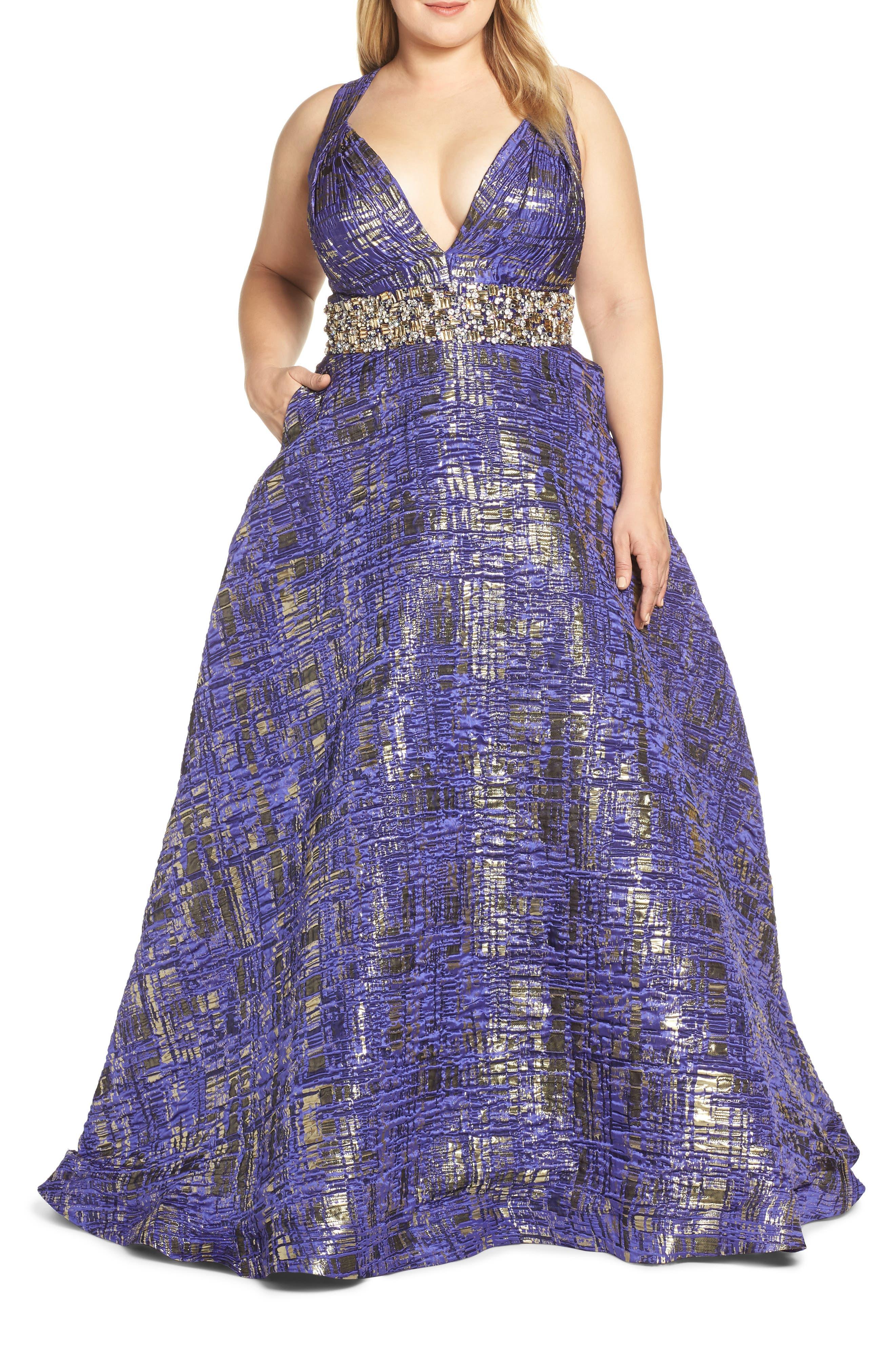 Plus Size MAC Duggal Rhinestone Waist Metallic Print Evening Dress, Purple