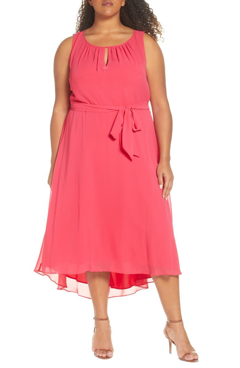 TAHARI Sleeveless Chiffon Midi Dress, Main, color, RASPBERRY