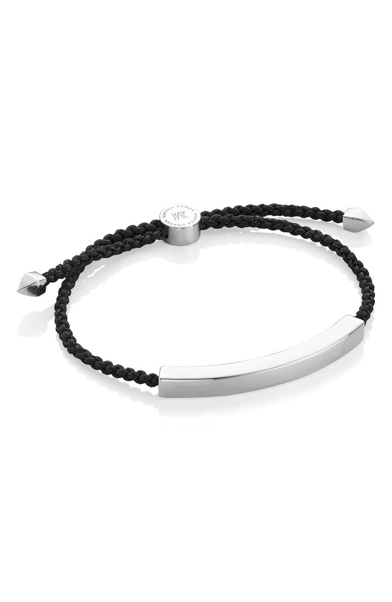 MONICA VINADER Engravable Men's Friendship Bracelet, Main, color, SILVER/ BLACK