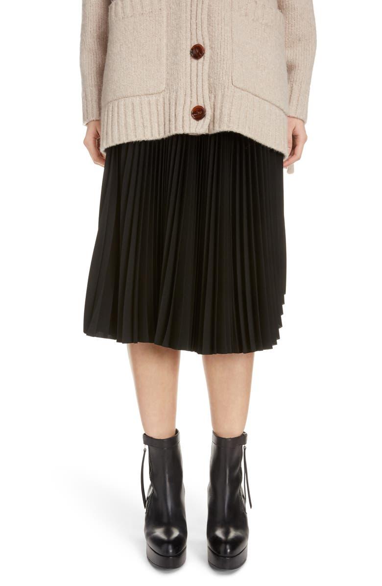 ACNE STUDIOS Ilky Pleated Midi Skirt, Main, color, BLACK