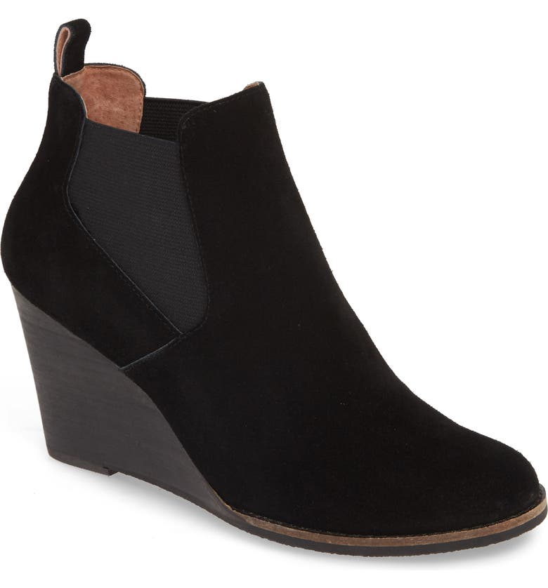 CASLON<SUP>®</SUP> Willa Wedge Bootie, Main, color, BLACK SUEDE