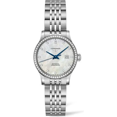 Longines Record Pave Diamond Bracelet Watch, 30Mm