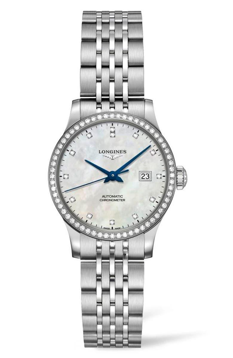 LONGINES Record Pavé Diamond Bracelet Watch, 30mm, Main, color, SILVER/ MOP/ SILVER