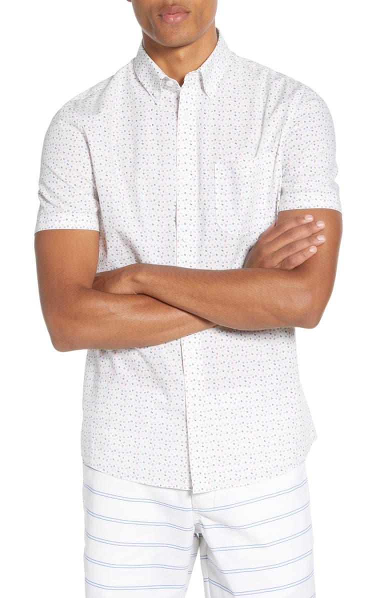 1901 Slim Fit Short Sleeve Button-Down Shirt, Main, color, WHITE CONFETTI LINES