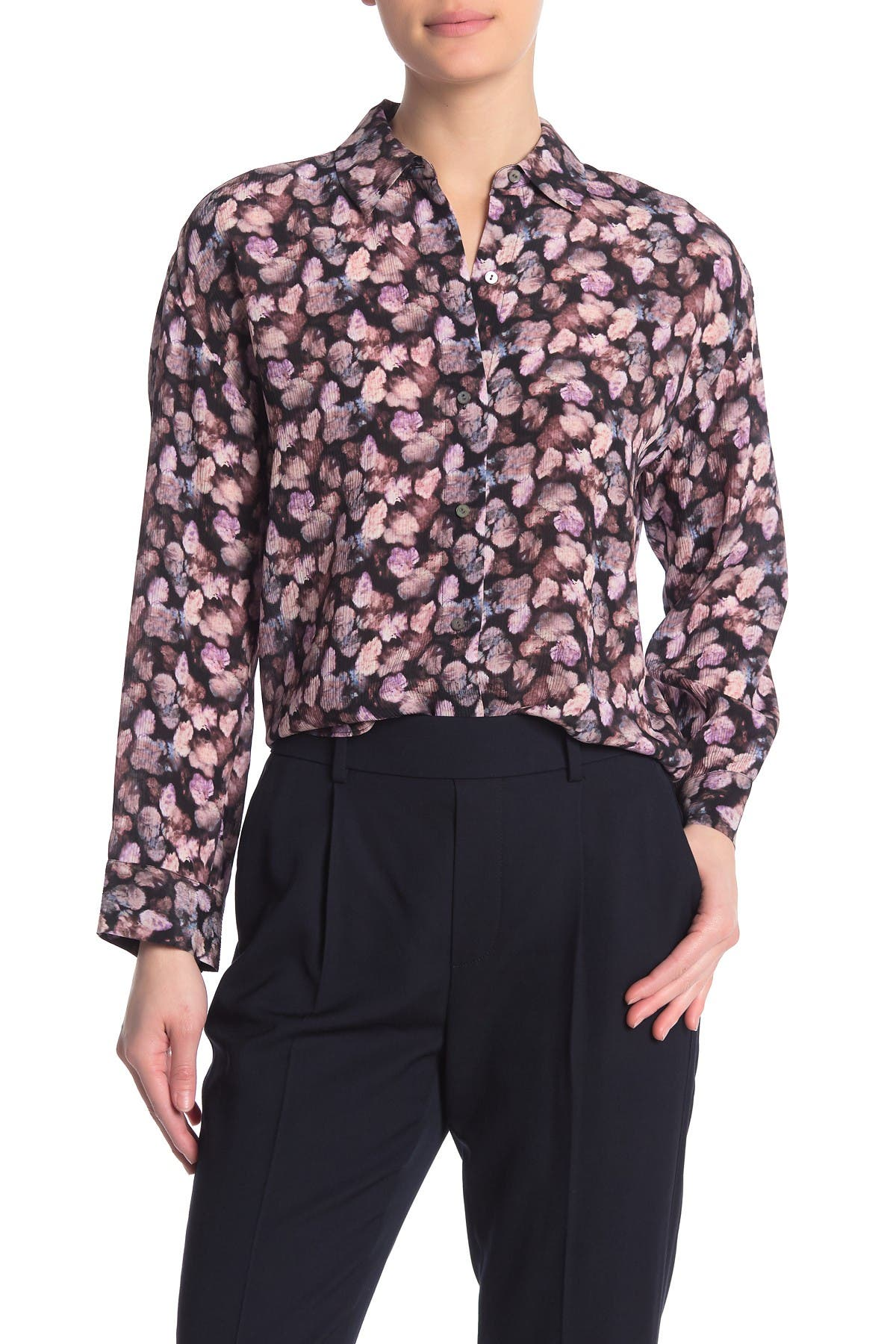 Image of Vince Floral Pleated Long Sleeve Silk Shirt