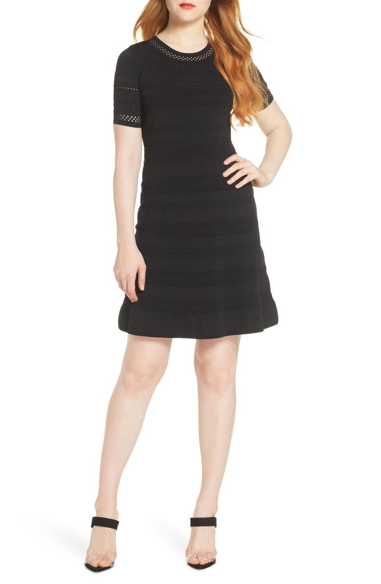 CHELSEA28 Pointelle Fit & Flare Sweater Dress, Main, color, BLACK