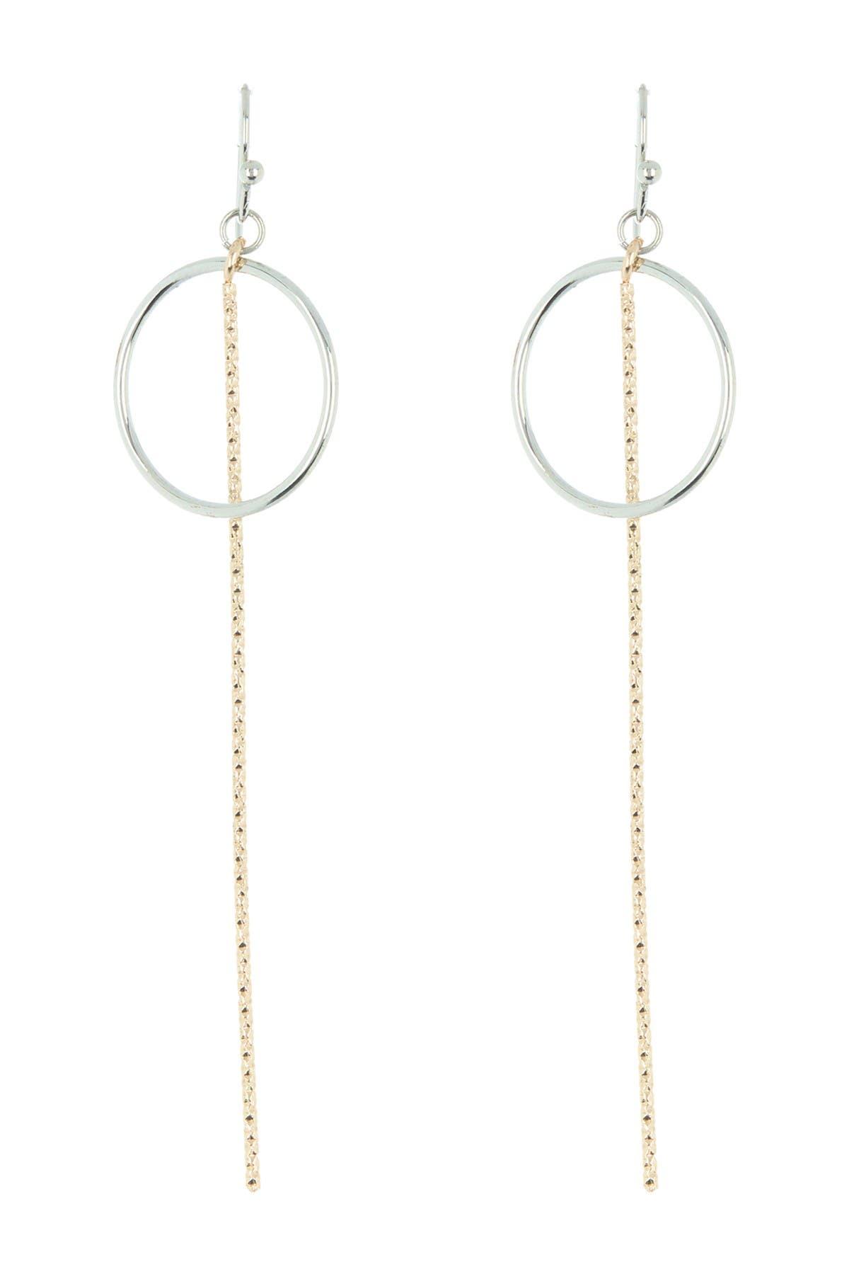 Image of AREA STARS Two-Tone Circular Link Fringe Drop Earrings