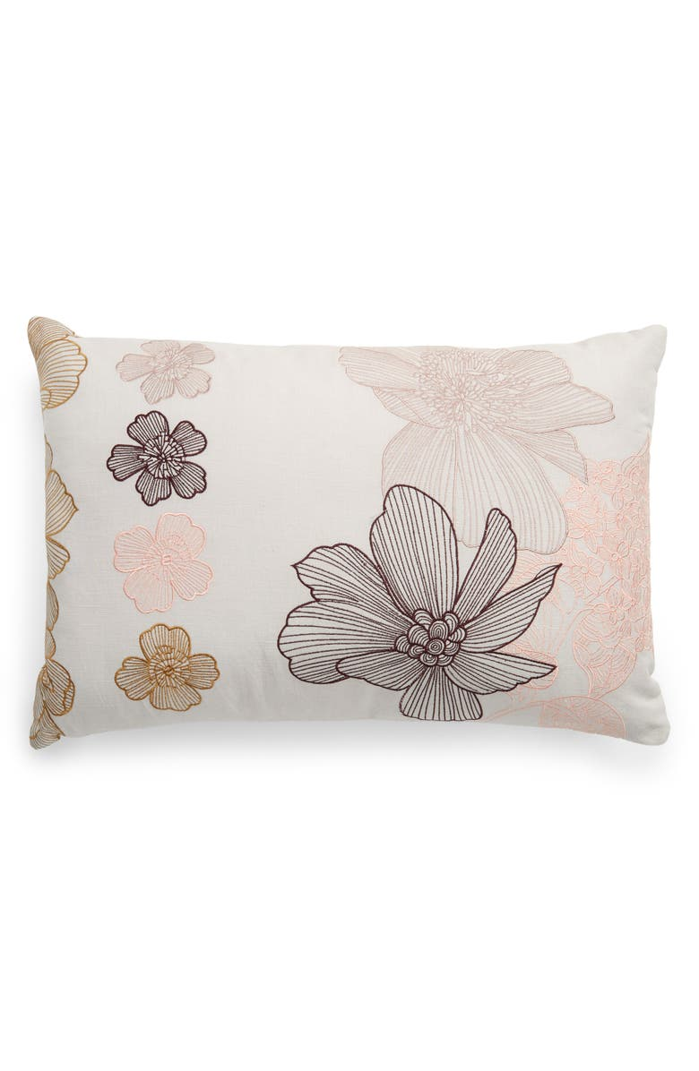 NORDSTROM Flower Embroidered Cotton & Linen Accent Pillow, Main, color, 020