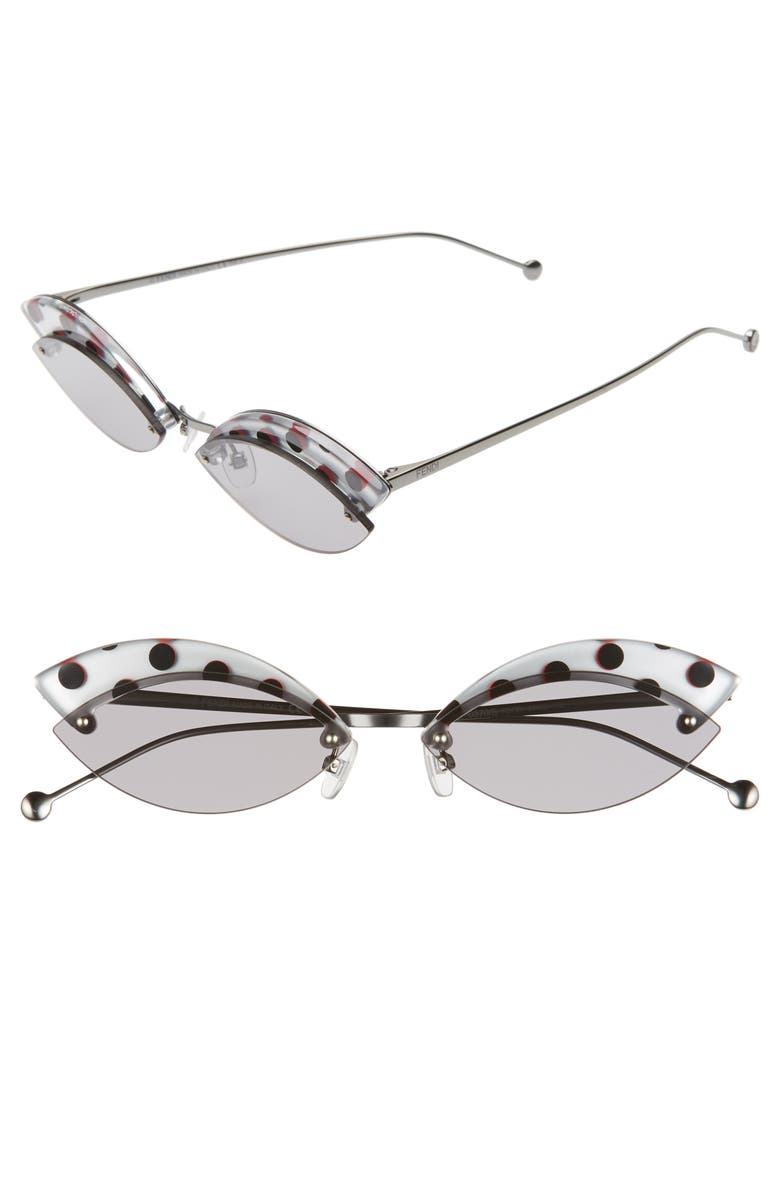 FENDI Defender 58mm Cat Eye Sunglasses, Main, color, SILVER/ GREY