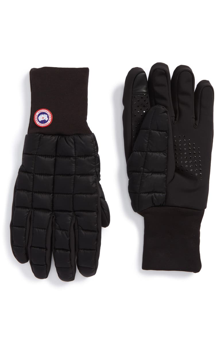 CANADA GOOSE Northern Liner Gloves, Main, color, BLACK