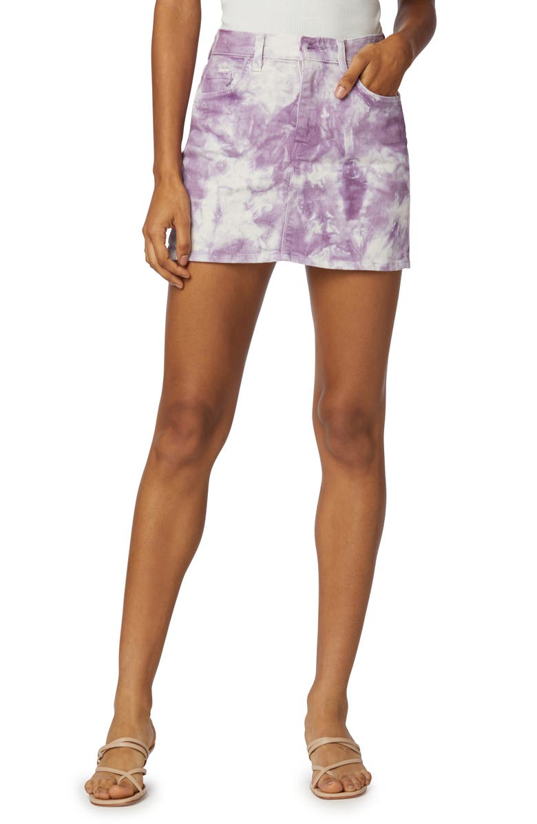 HUDSON JEANS The Viper Tie Dye Denim Miniskirt, Main, color, SOFT LILAC FATIGUE