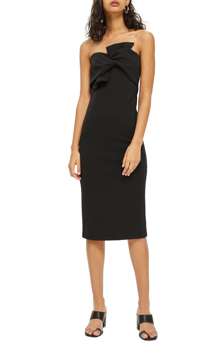 TOPSHOP Bow Twist Textured Midi Dress, Main, color, 001
