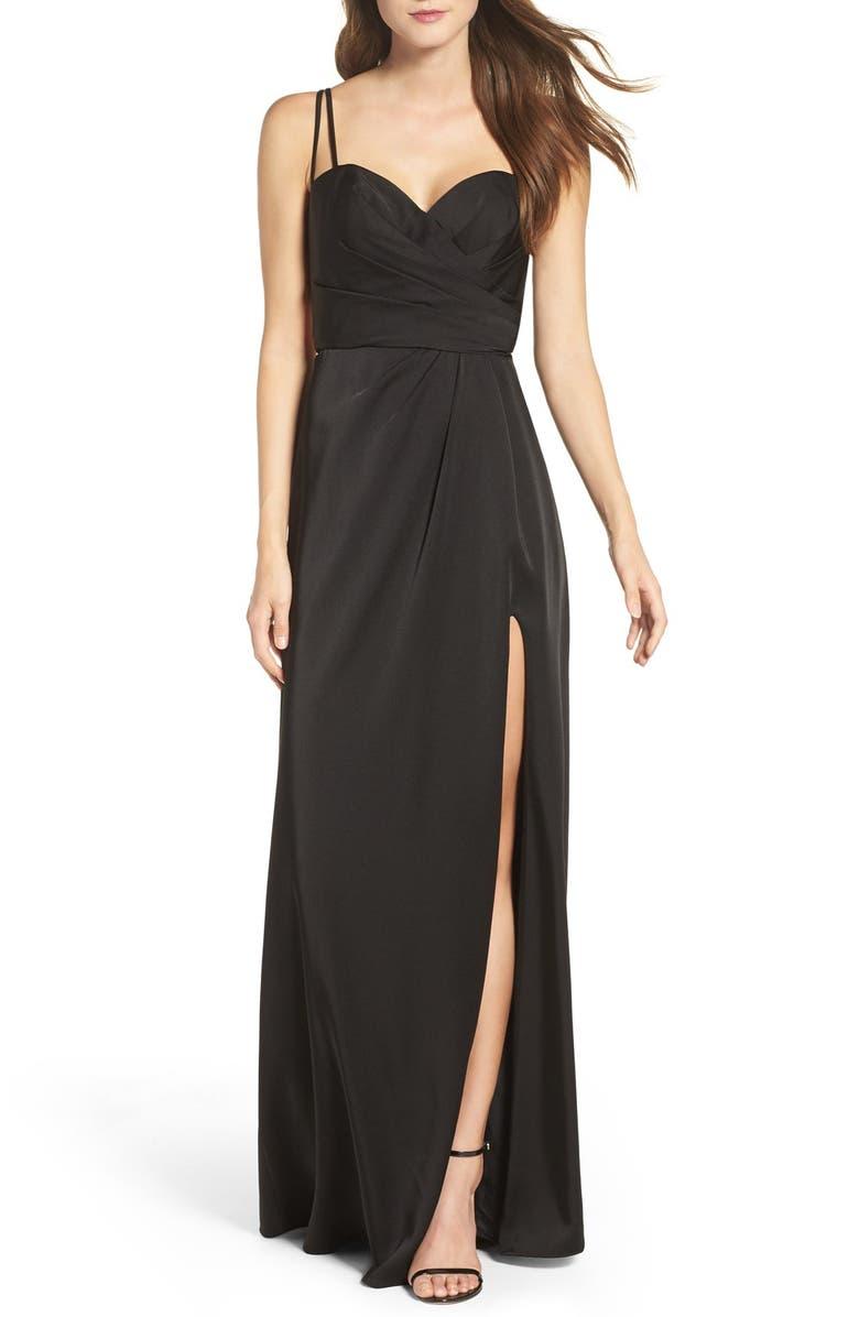 LA FEMME Ruched Bodice Gown, Main, color, 001