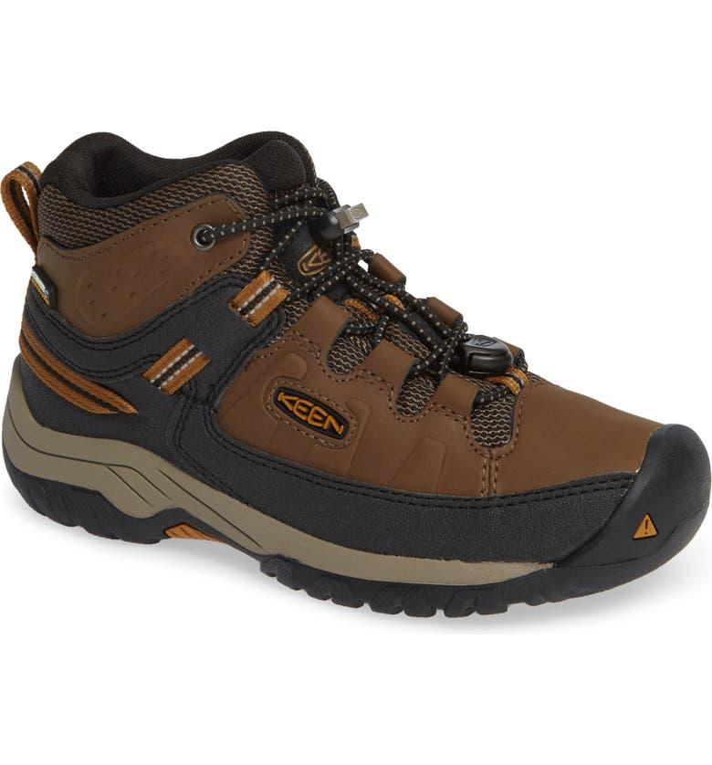 KEEN Targhee Mid Waterproof Hiking Boot, Main, color, DARK EARTH/ GOLDEN BROWN