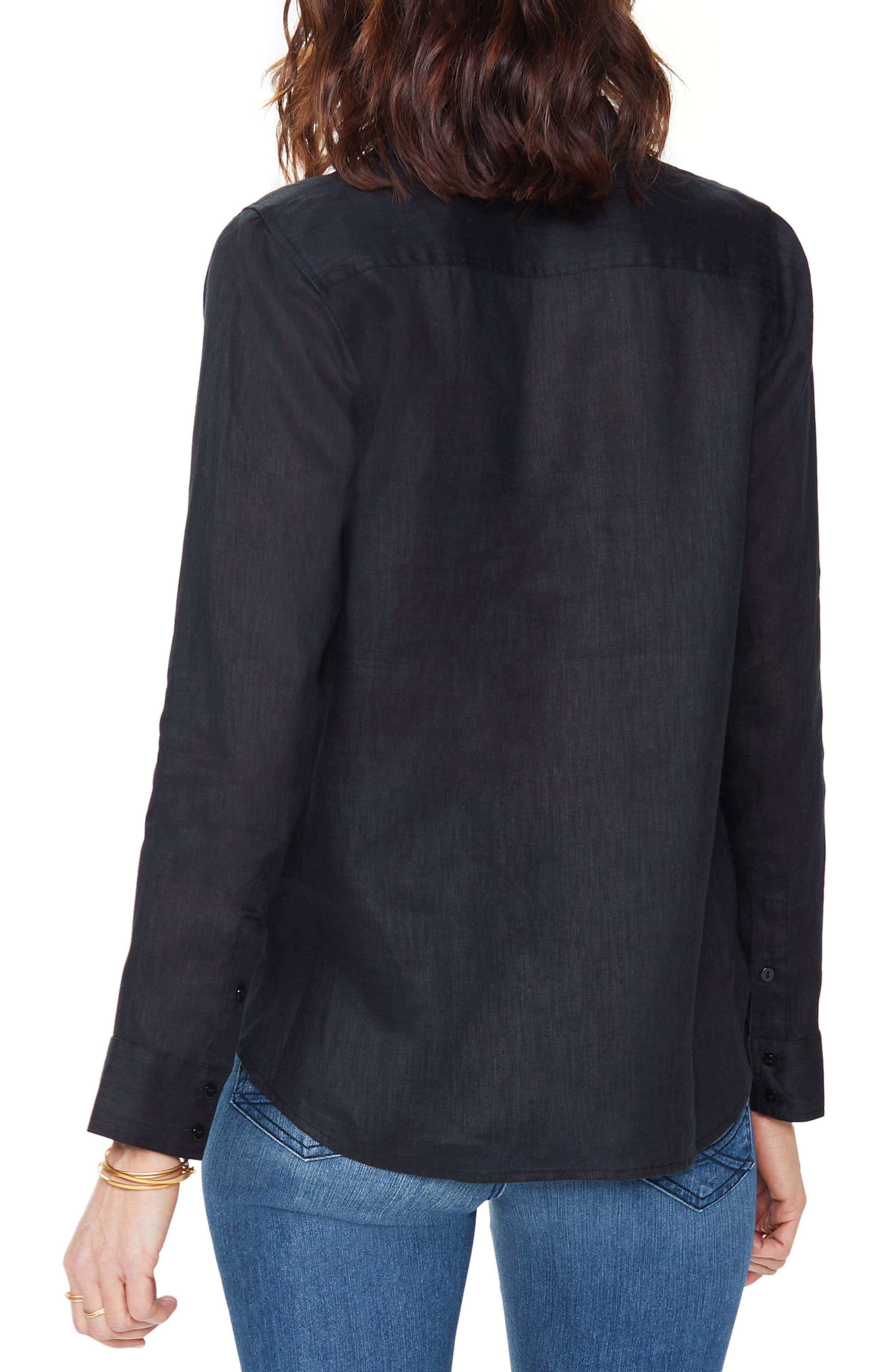 ,                             Linen Tunic,                             Alternate thumbnail 2, color,                             BLACK