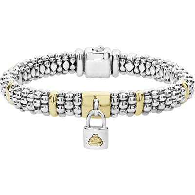 Lagos Beloved Charm Lock Caviar Rope Bracelet