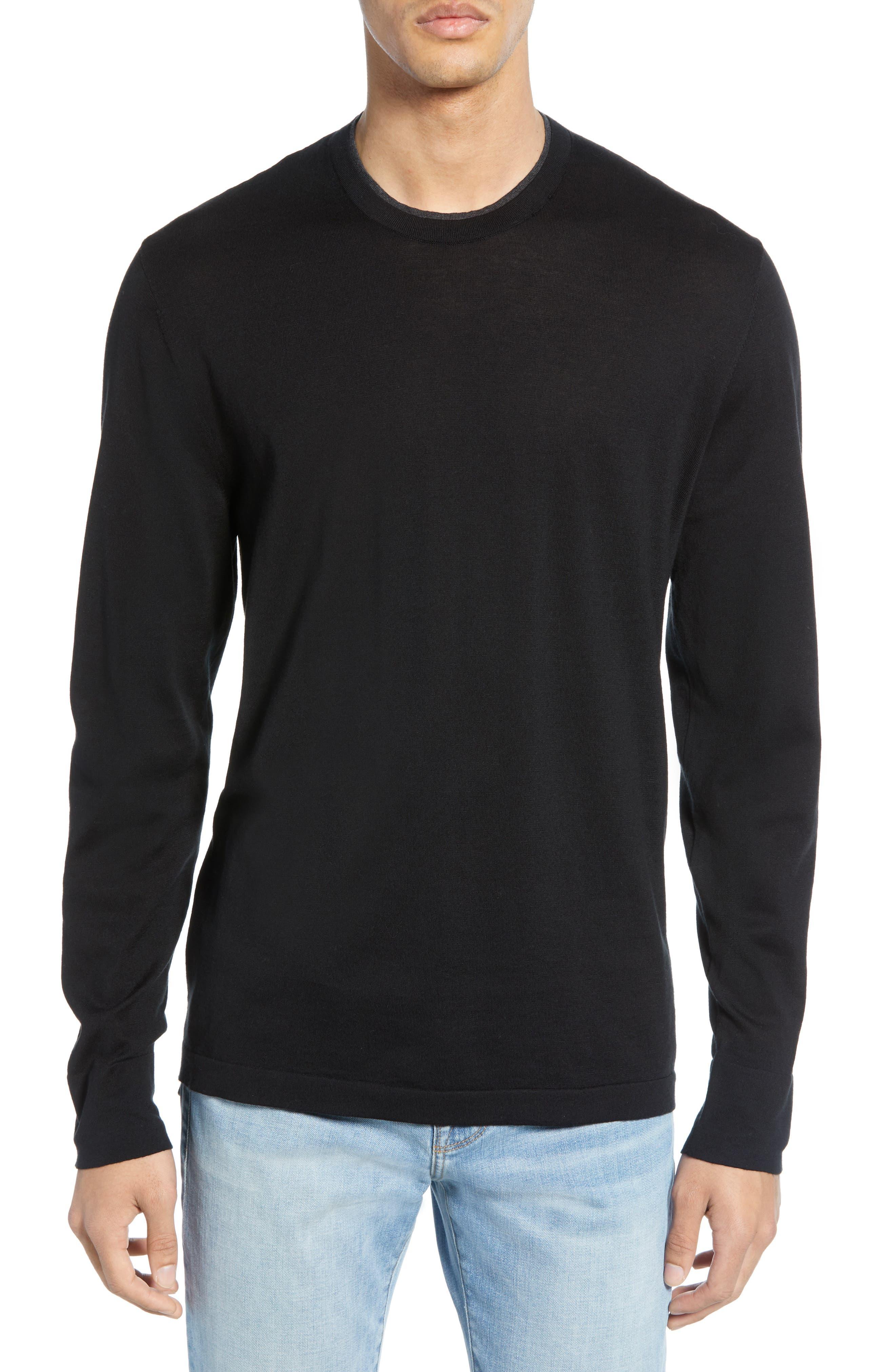 James Perse Slim Fit Cotton Crewneck Sweater, Black