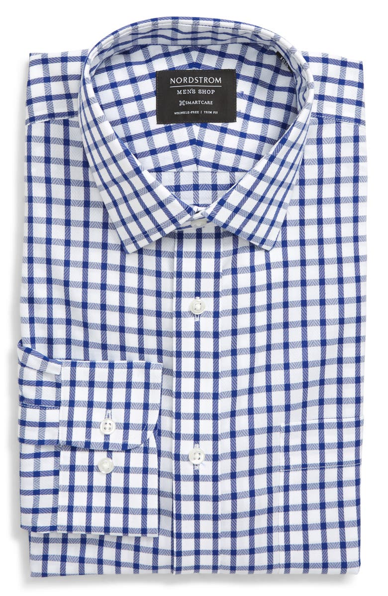 NORDSTROM MEN'S SHOP Smartcare Trim Fit Plaid Dress Shirt, Main, color, BLUE MAZARINE