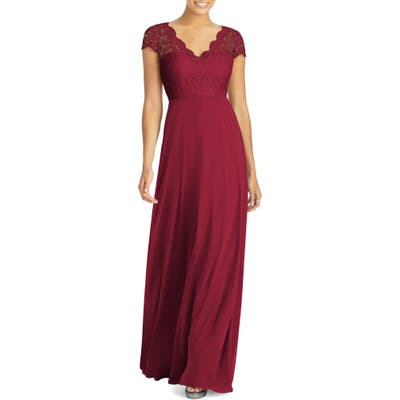 Dessy Collection Cap Sleeve Lace & Chiffon Gown, Burgundy