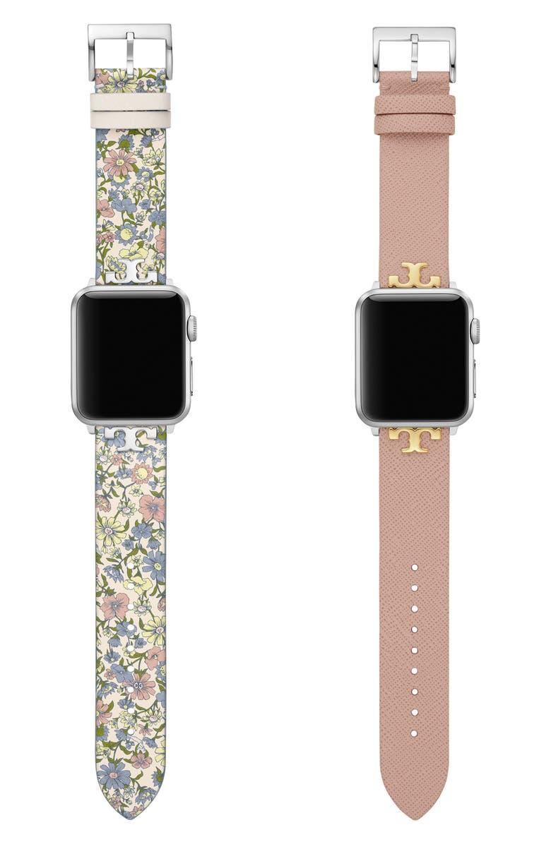 토리버치 Tory Burch Set of 2 Leather Apple Watch Straps,multi