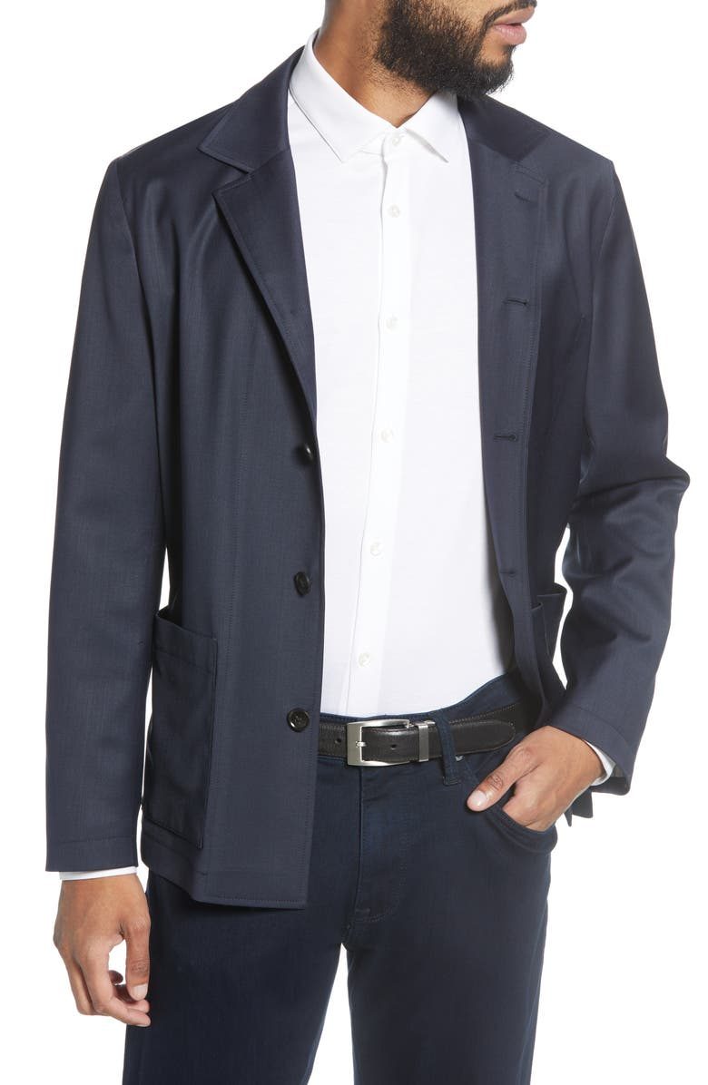 TIGER OF SWEDEN Deconstructed Stretch Wool Blend Sport Coat, Main, color, MIDNIGHT BLUE