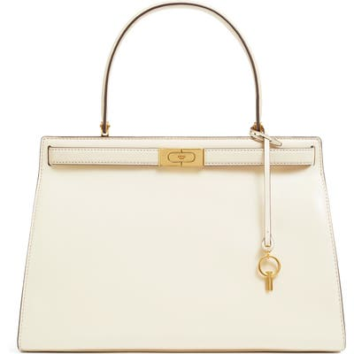 Tory Burch Large Lee Radziwill Leather Bag - Ivory