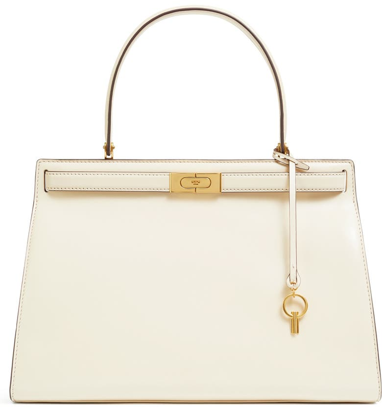 TORY BURCH Large Lee Radziwill Leather Bag, Main, color, NEW CREAM