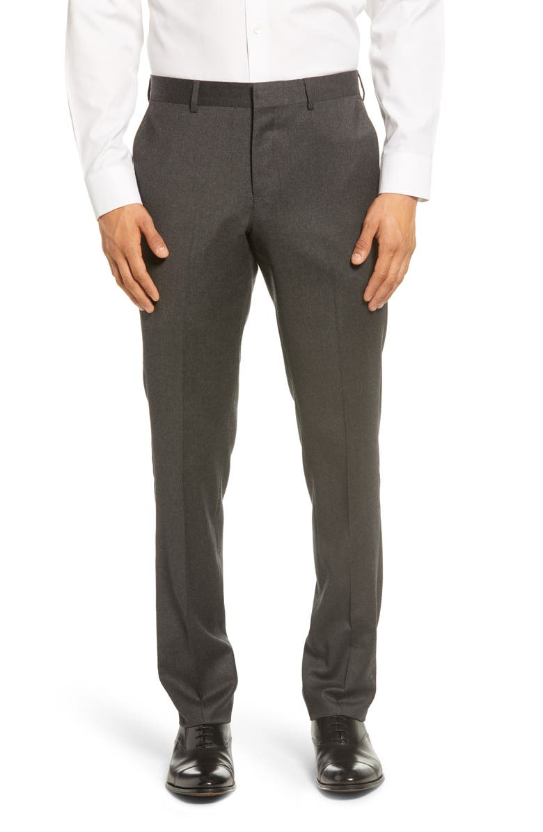 NORDSTROM MEN'S SHOP Trim Fit Flannel Wool Dress Pants, Main, color, GREY SHADE HEATHER
