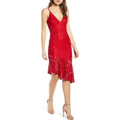 Speechless Asymmetrical Ruffle Hem Lace Dress, Red
