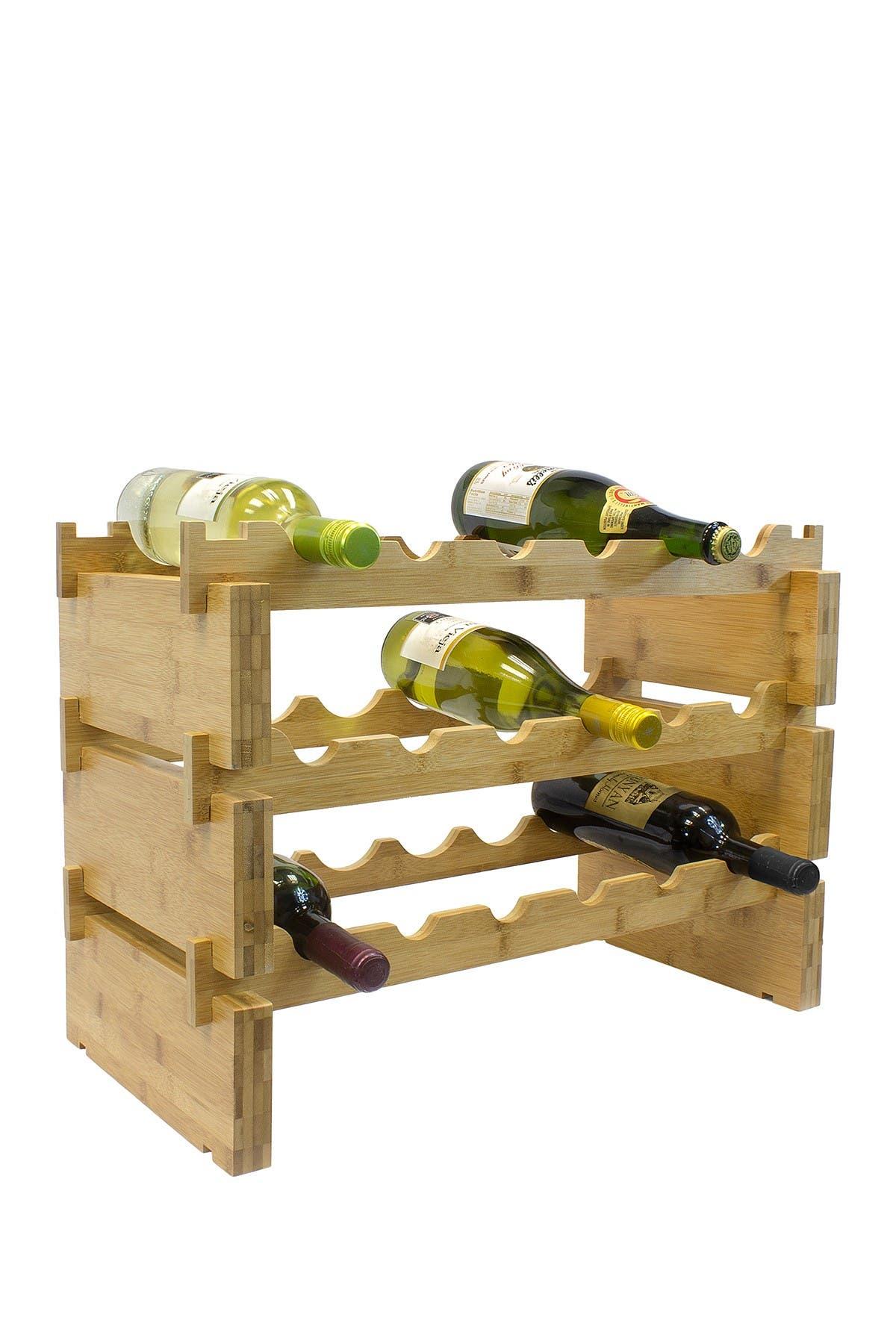 Image of Sorbus 3-Tier Stackable Bamboo Wine Rack