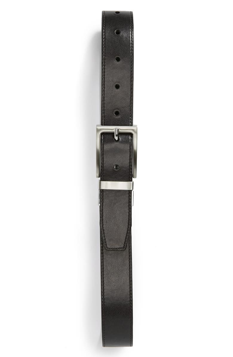 NORDSTROM Reversible Faux Leather Belt, Main, color, BLACK