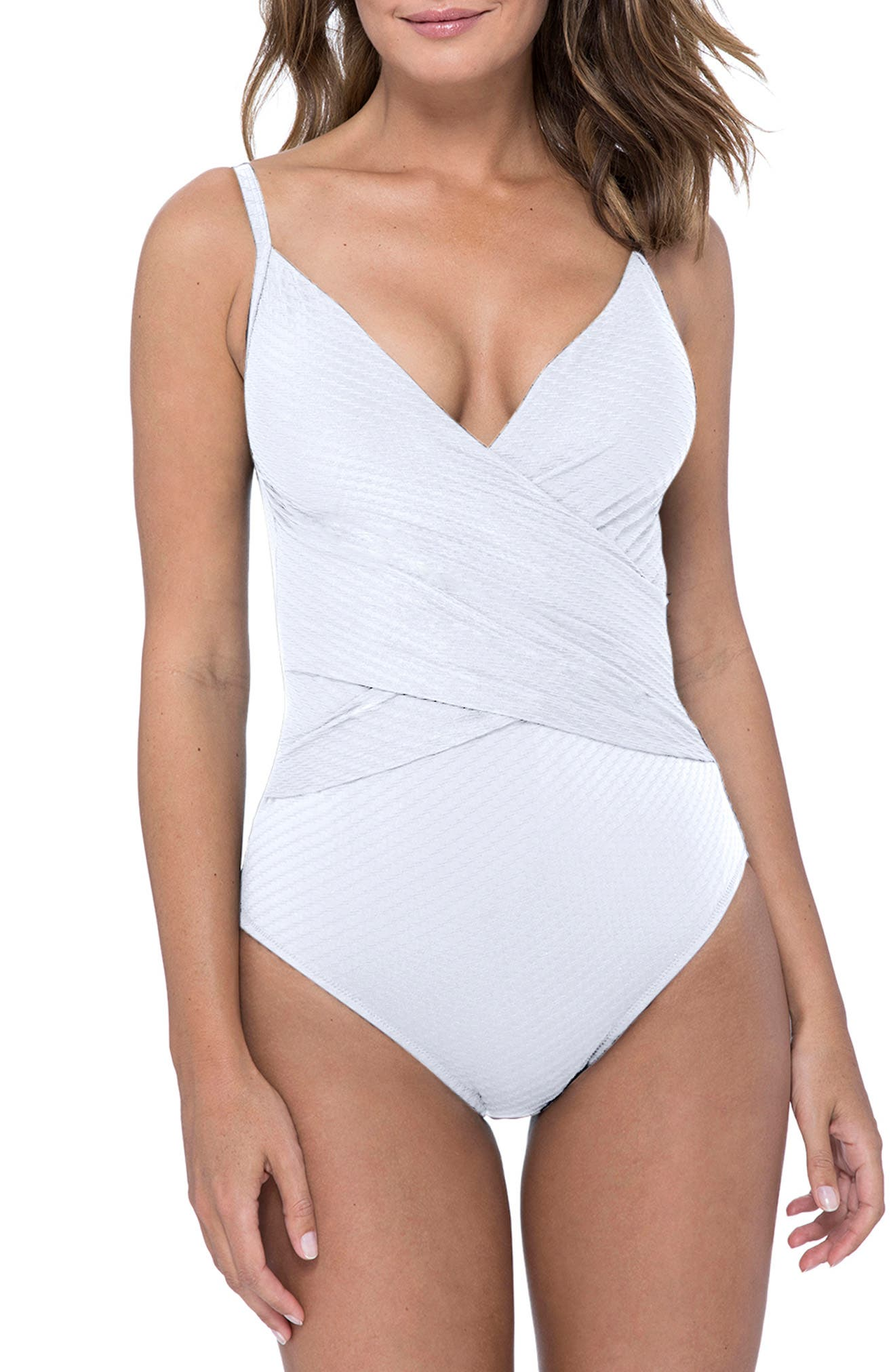 Profile By Gottex Surplice One-Piece Swimsuit, White