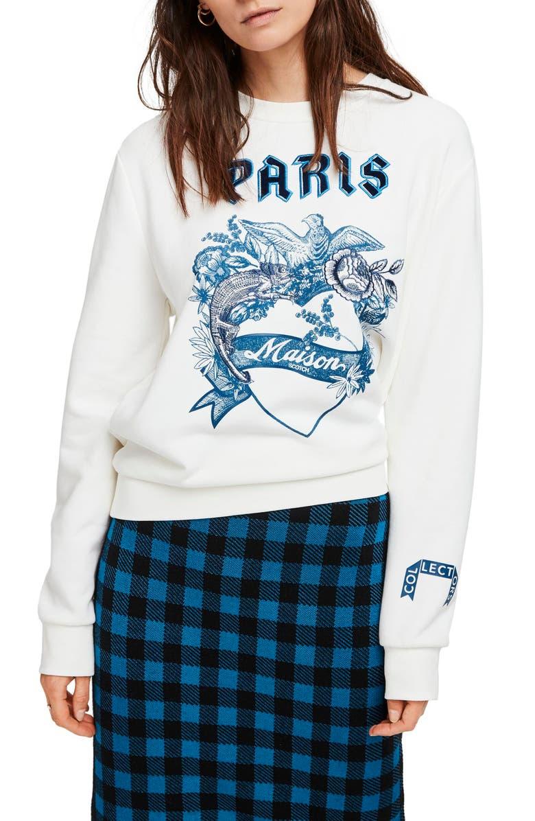 SCOTCH & SODA Crewneck Sweatshirt, Main, color, WHITE