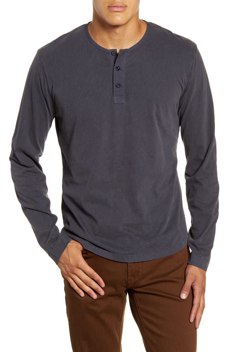ALEX MILL Sueded Long Sleeve Henley, Main, color, 001