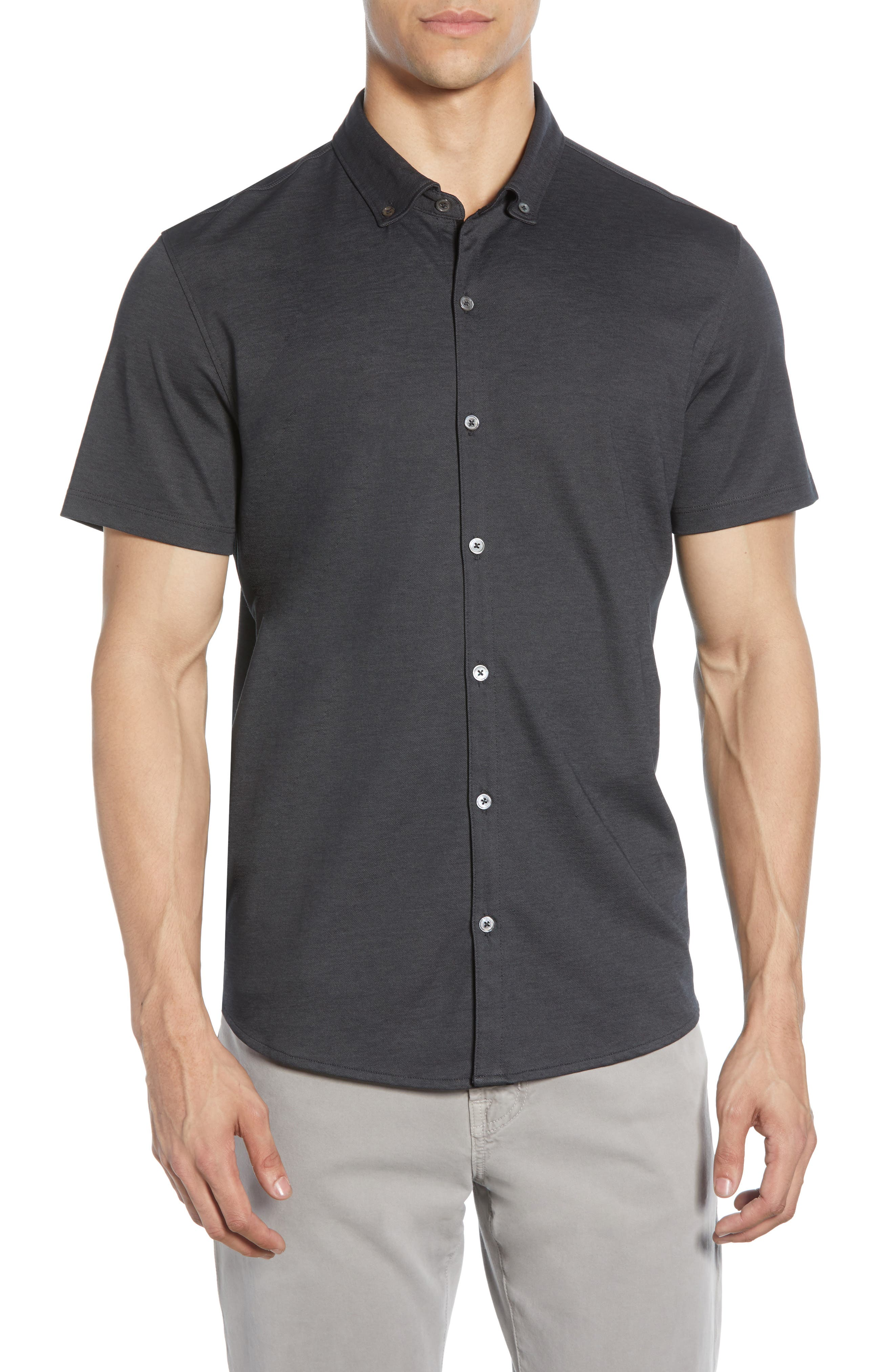Caruth Regular Fit Short Sleeve Sport Shirt, Main, color, BLACK