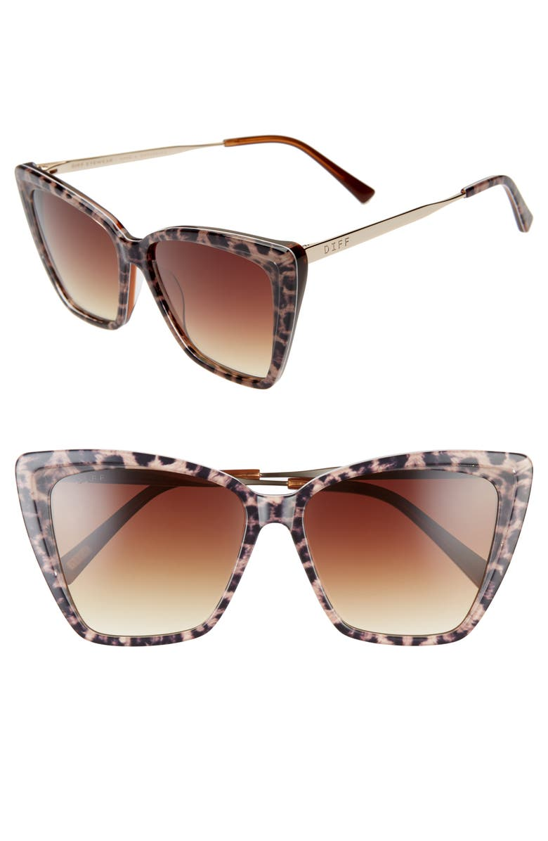 DIFF Becky II 55mm Cat Eye Sunglasses, Main, color, LEOPARD TORTOISE/ BROWN