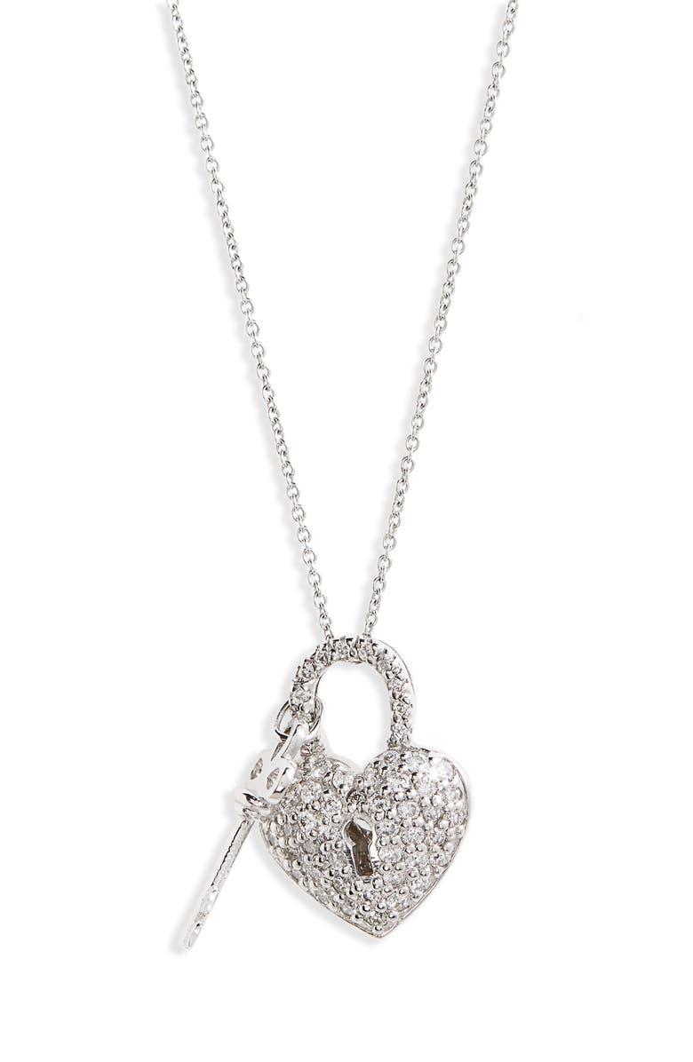 ROBERTO COIN Diamond Heart Lock Pendant Necklace, Main, color, WHITE GOLD