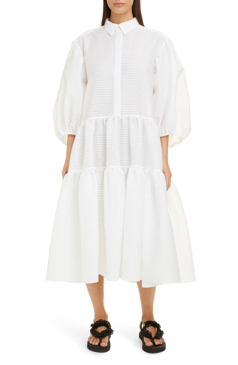 CECILIE BAHNSEN Amy Tiered Midi Shirtdress, Main, color, 100