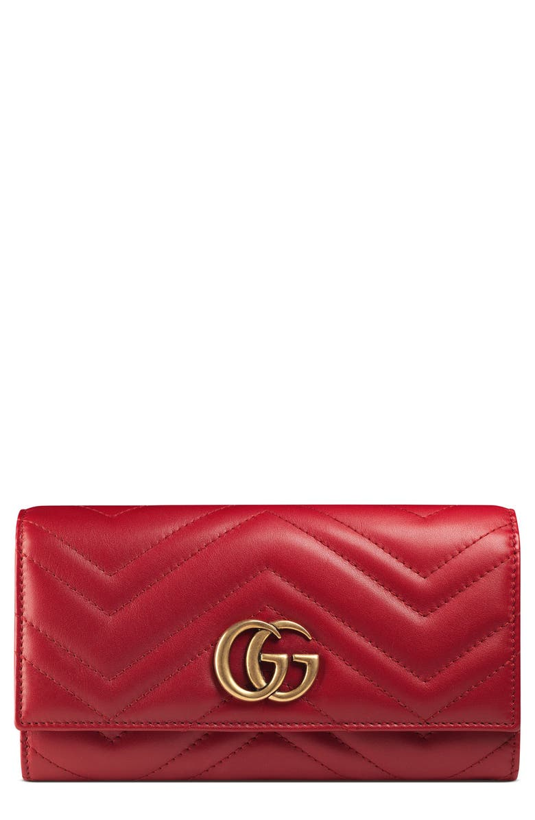 GUCCI GG Marmont Matelassé Leather Continental Wallet, Main, color, HIBISCUS RED