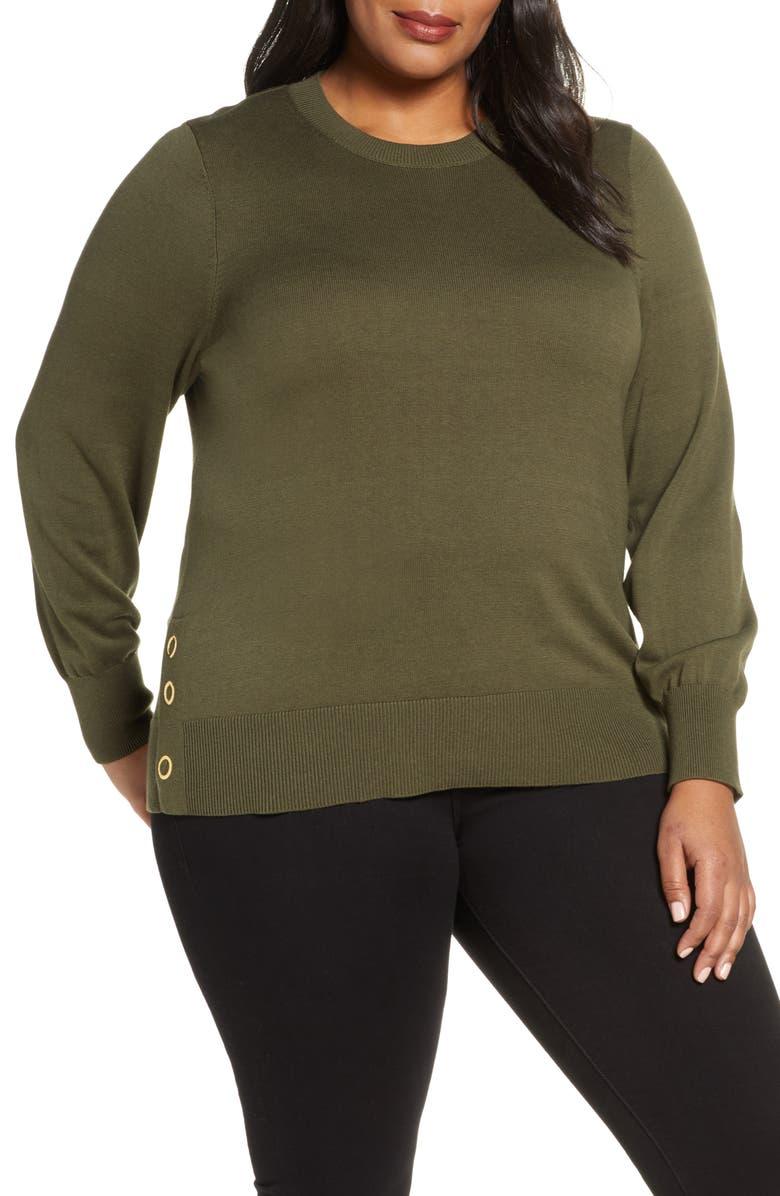 MICHAEL MICHAEL KORS Grommet Detail Sweater, Main, color, IVY