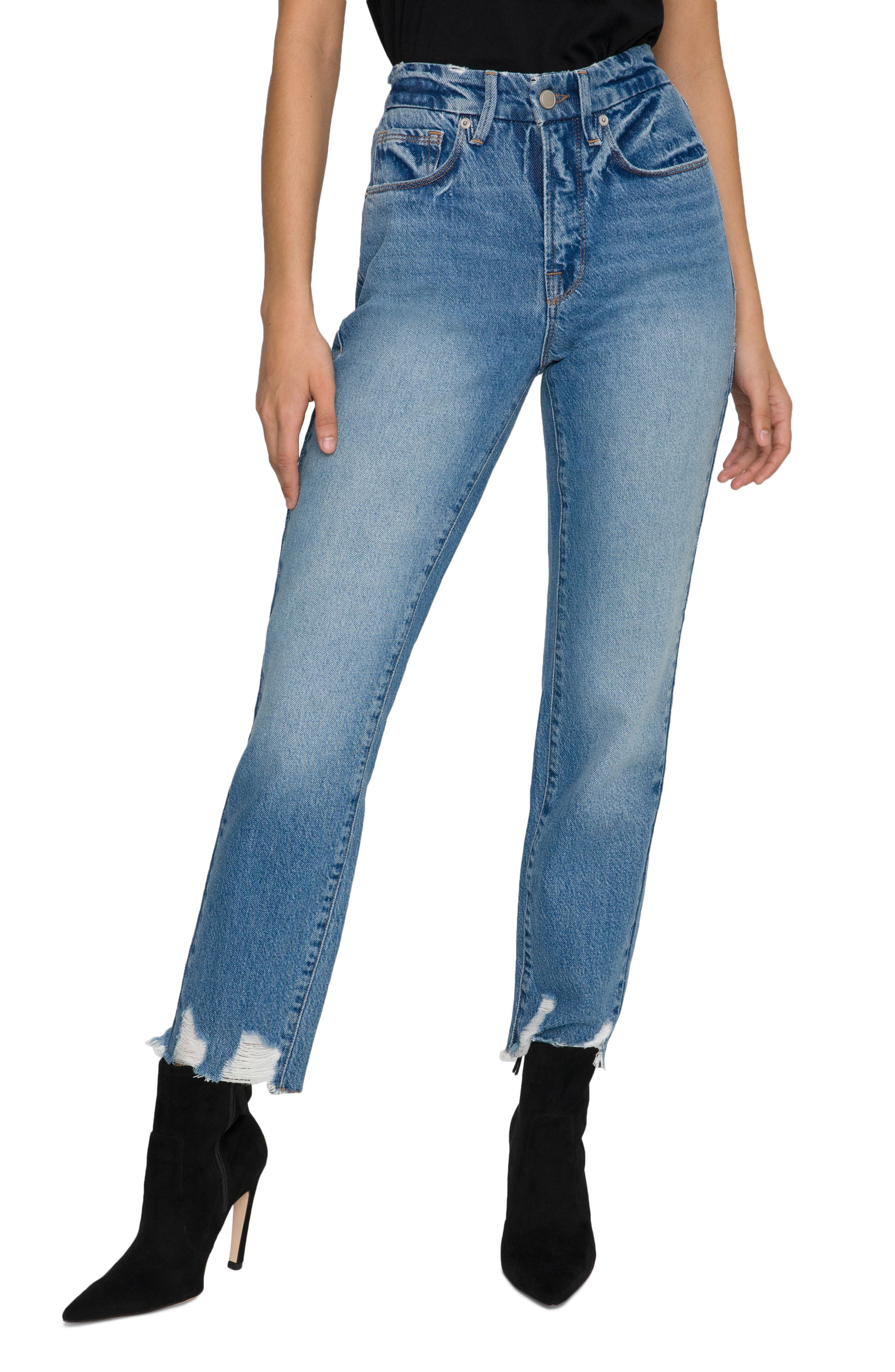 Women's Good American Good Vintage High Waist Jagged Hem Straight Leg Jeans