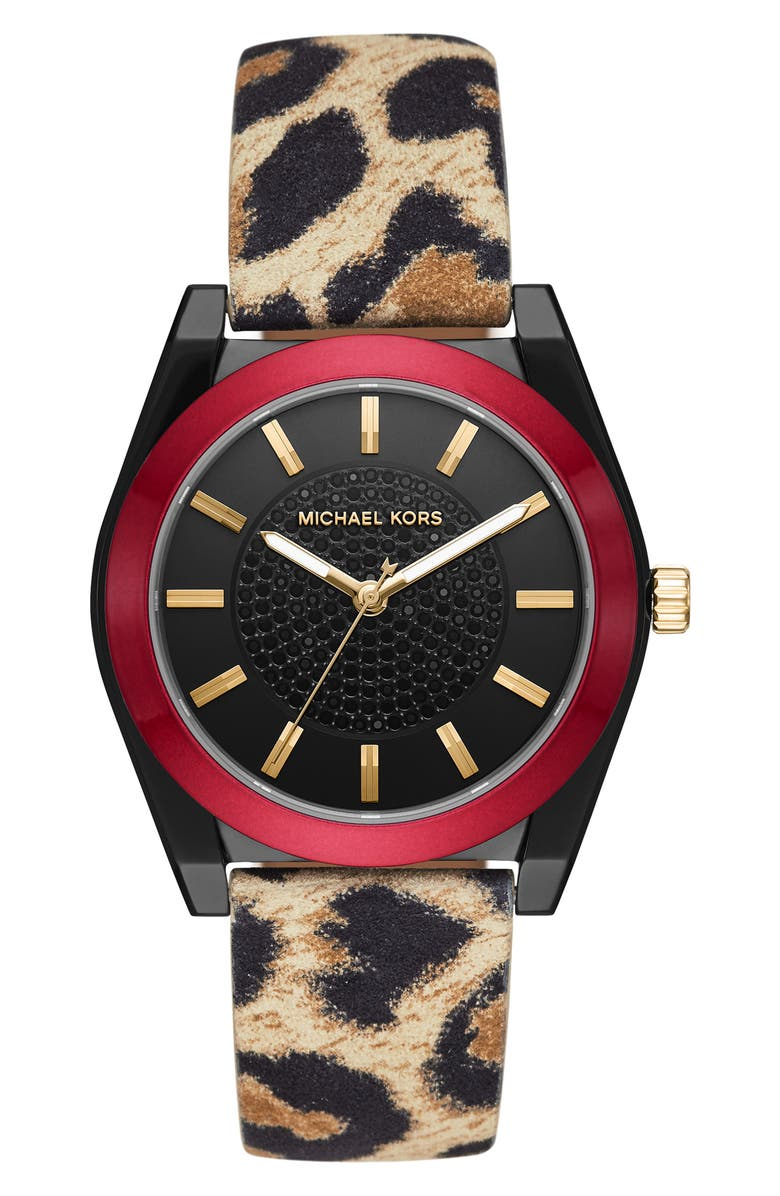 MICHAEL KORS Channing Leather Strap Watch, 40mm, Main, color, LEOPARD MULTI/ BLACK/ RED