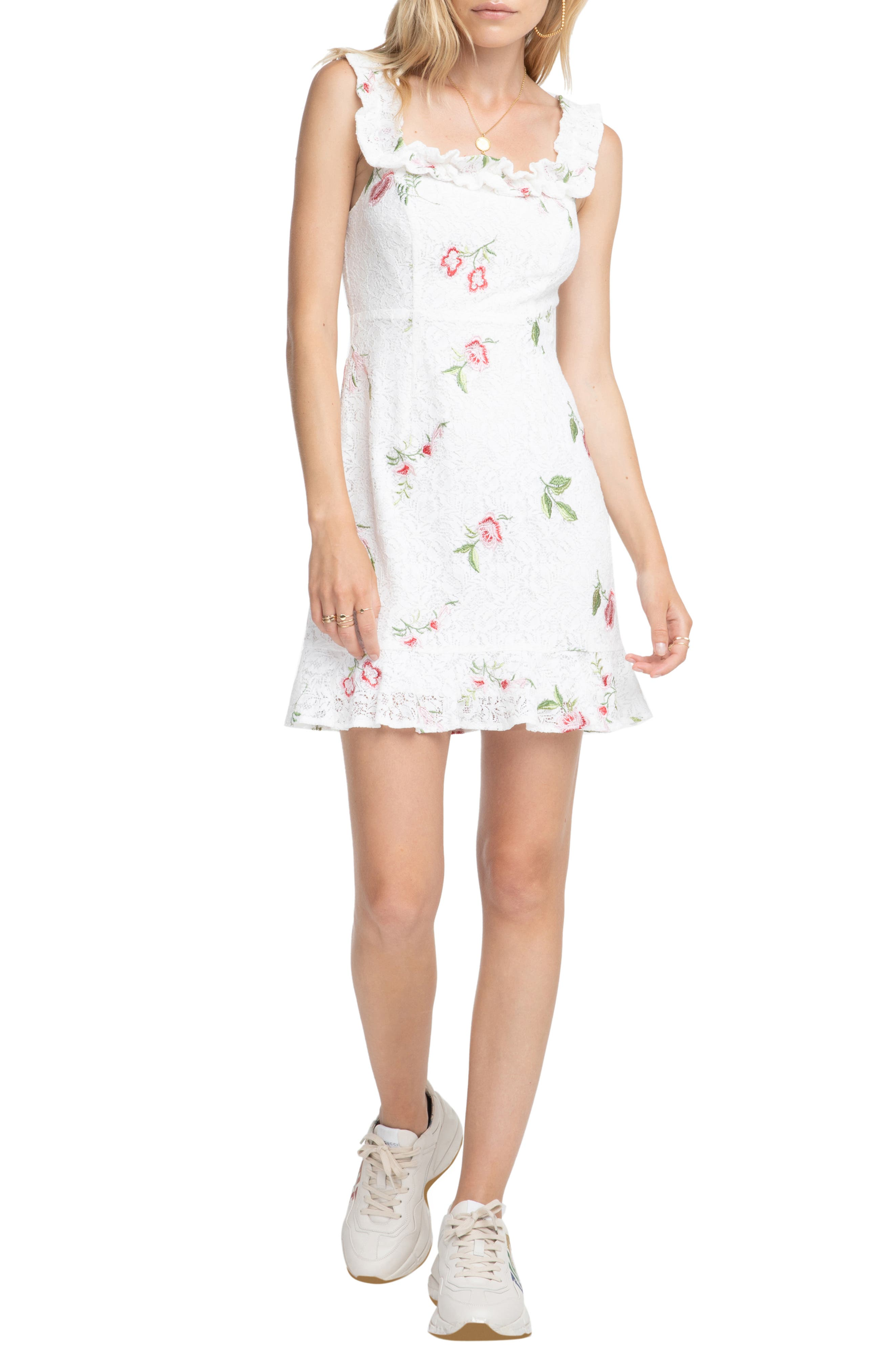 Astr The Label Embroidered Lace Dress, Red