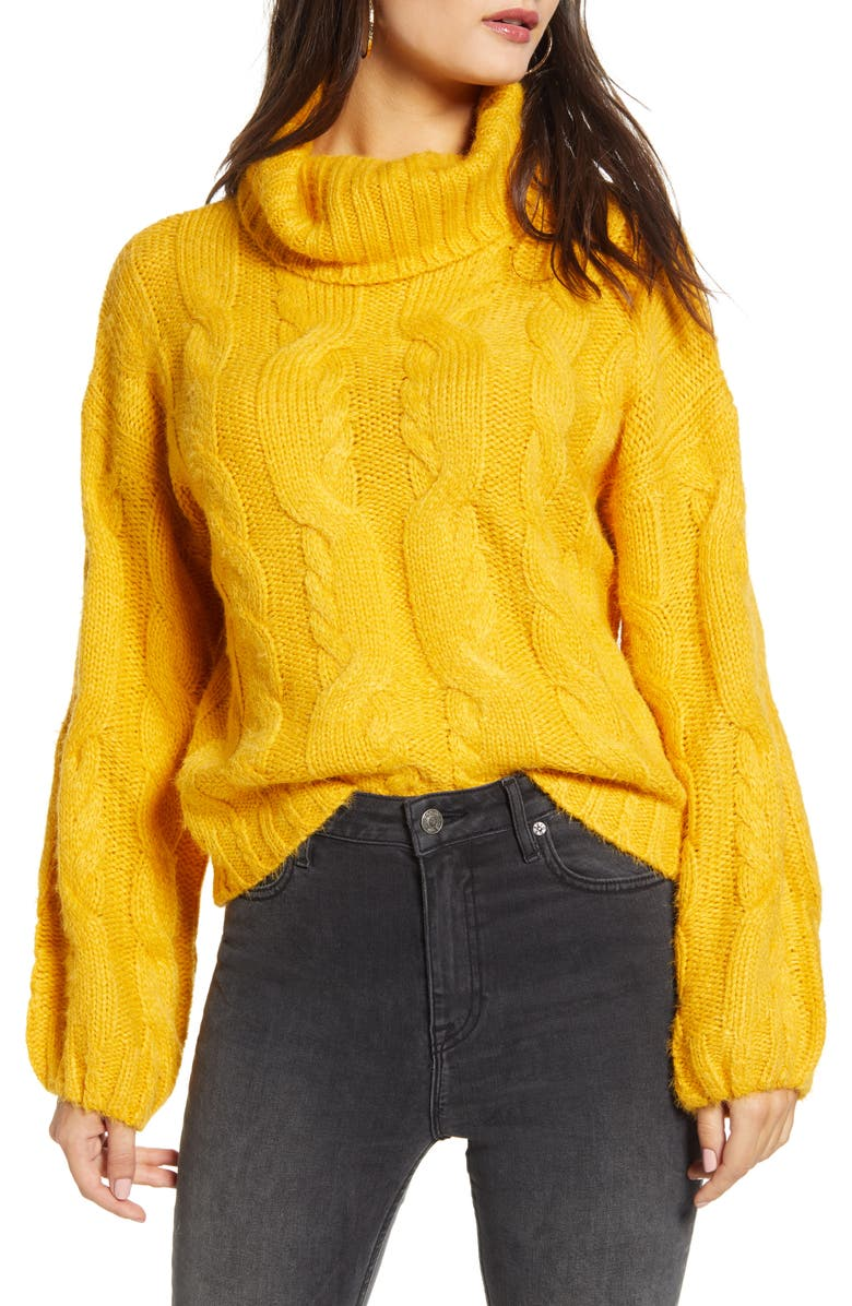 J.O.A. Twist Braid Turtleneck Sweater, Main, color, 700