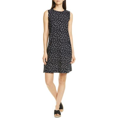 Petite Eileen Fisher Dot Print Organic Cotton Shift Dress, Black