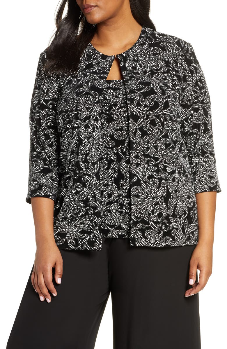 ALEX EVENINGS Dot Floral Print Twinset, Main, color, BLACK WHITE