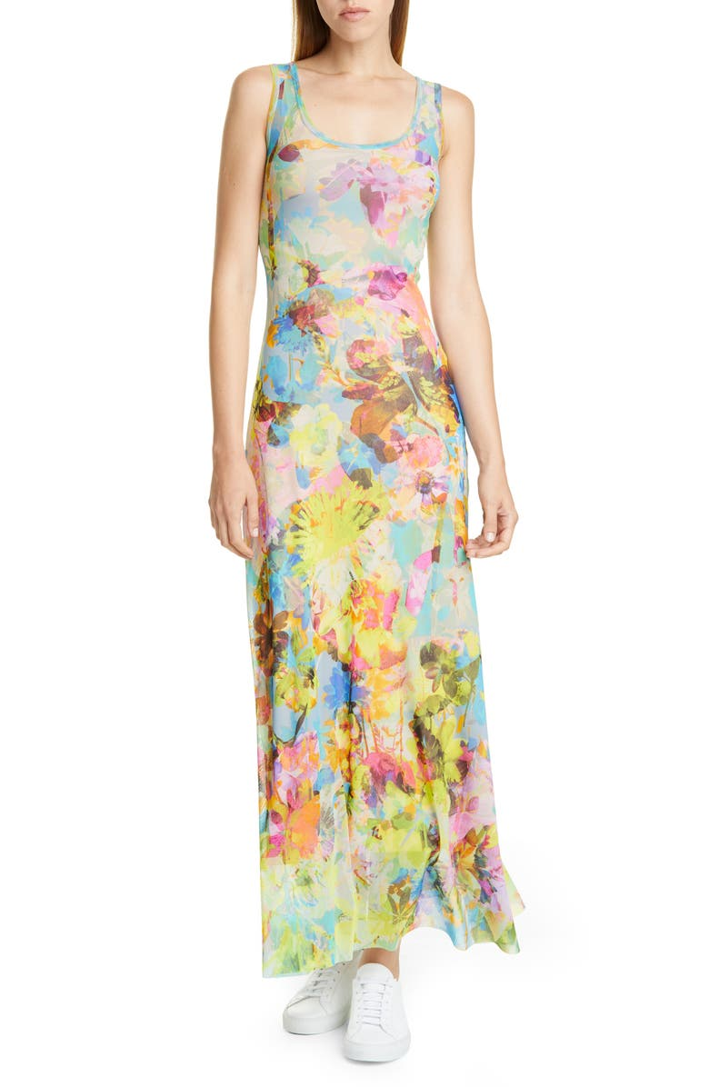 FUZZI Floral Tank Maxi Dress, Main, color, LIMPIDO
