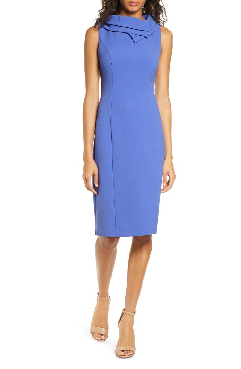 HARPER ROSE Double Collar Crepe Sheath Dress, Main, color, PERIWINKLE
