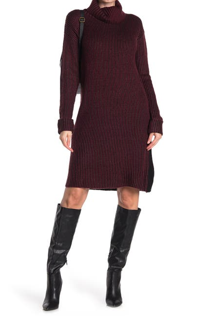 Image of STITCHDROP Two-Tone Ribbed Knit Sweater Dress